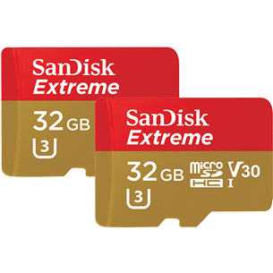 MicroSDHC memory card SanDisk Extreme + adapter (32 GB x 2)