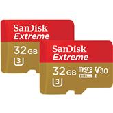 Карта памяти MicroSDHC, SanDisk Extreme + адаптер (32 ГБ + 2)