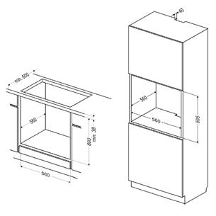 Интегрируемый духовой шкаф, Hansa (65 л)