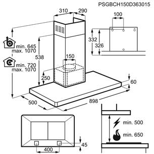 Cooker hood Electrolux (603 m³/h)