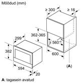 Iebūvējama mikroviļņu krāsns, Bosch / 21 L
