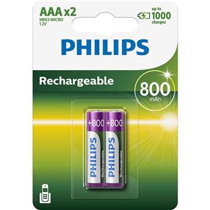 Uzlādējama baterija AAA, Philips (2gab.) R03B2A80/10