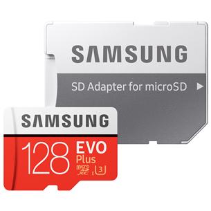 Atmiņas karte Micro SDXC EVO+, Samsung (128 GB) + adapteris MB-MC128HA/EU