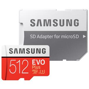 Atmiņas karte Micro SDXC EVO+, Samsung (512 GB) + adapteris MB-MC512HA/EU