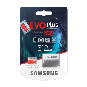Atmiņas karte Micro SDXC EVO+, Samsung (512 GB) + adapteris