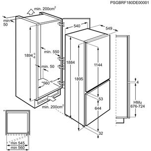 Iebūvējams ledusskapis, AEG / 189 cm