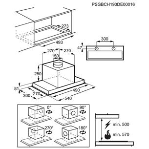 Iebūvējams tvaika nosūcējs, Electrolux (450 m³/h)