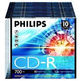 CD-R diski Philips slim, 10 gab.
